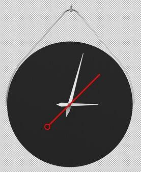 Изолированные настенные часы. хорошая мебель для интерьера. прозрачный фон. фронт изометрическая проекция. премиум 3d.