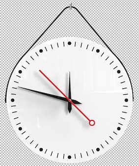 격리 된 벽 시계입니다. 인테리어에 좋은 가구. 투명 배경. 전면 아이소 메트릭 뷰. 프리미엄 3d.