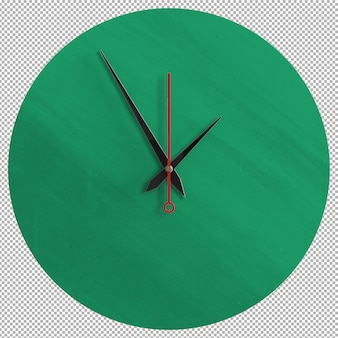 Isolated wall clock. nice furniture for interior. transparent background. front isometric view. premium 3d.