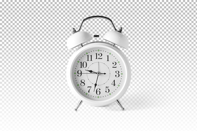Isolated white alarm clock