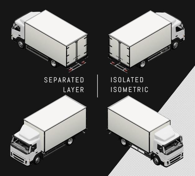 Изолированный белый коробка грузовик изометрические автомобиль автомобиль набор