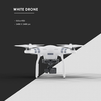 Isolated white drone from front view