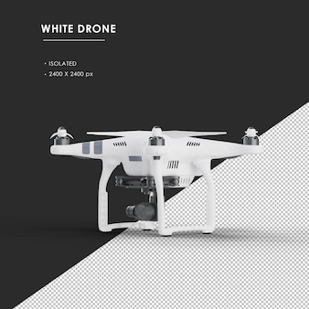 Isolated white drone from left front view