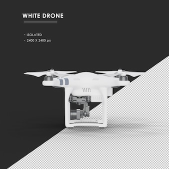 Isolated white drone from left view