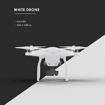 Isolated white drone from rear view