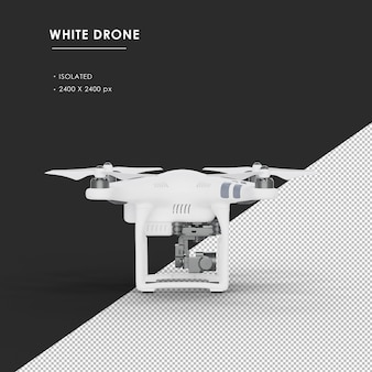 Isolated white drone from right view