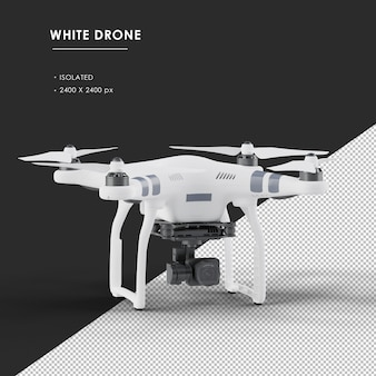 Isolated white drone from top front left angle view