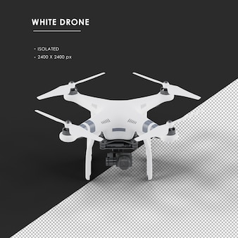 Isolated white drone from top front view