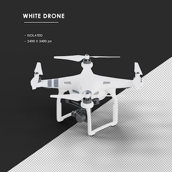 Isolated white drone from top left front view