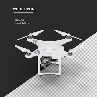 Isolated white drone from top left view