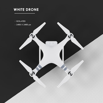 Isolated white drone from top view