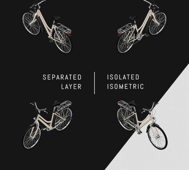 分離された白い一般的な自転車等尺性自転車セット