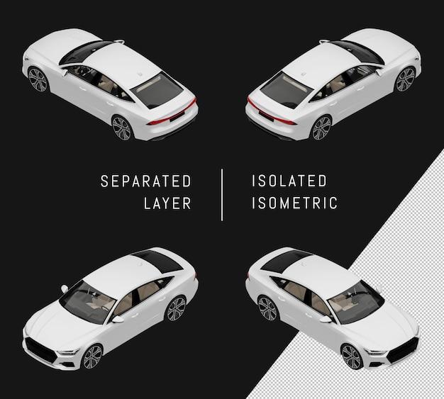 分離された白いモダンなスポーツシティカーアイソメトリックカーセット