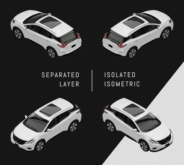 分離された白いモダンなスポーツシティsuv車アイソメトリックカーセット