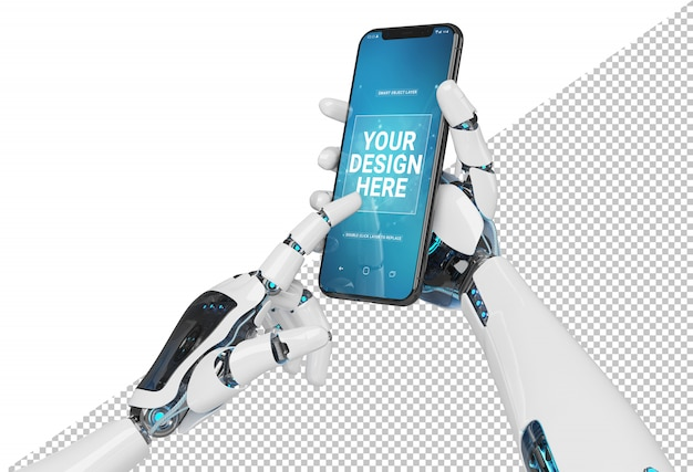 Isolated white robot hand holding modern smartphone mockup