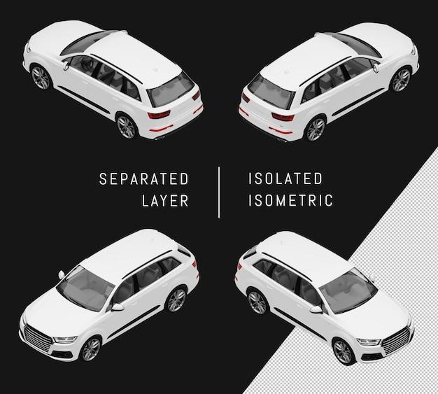 Изолированный белый спорт элегантный городской внедорожник изометрические набор автомобилей