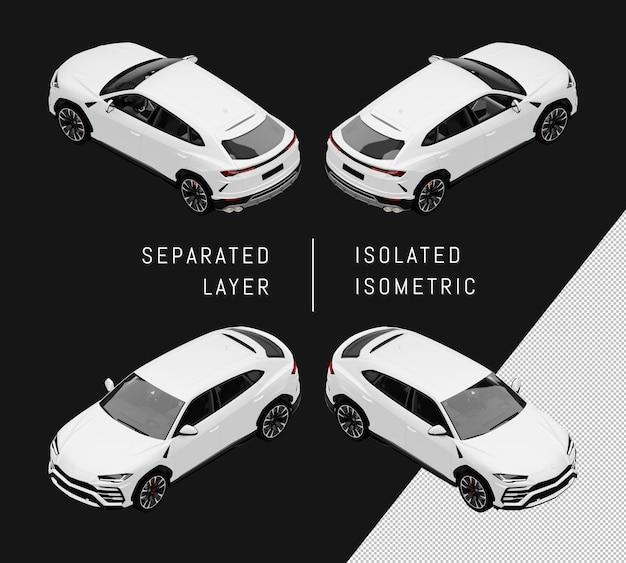 Изолированный белый спорт элегантный внедорожник изометрические набор автомобилей
