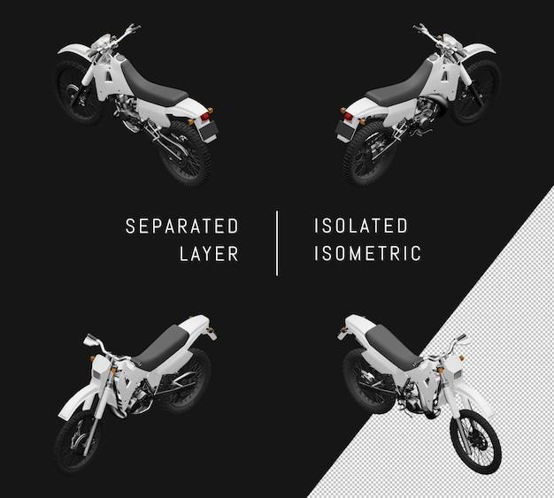 孤立した白いスポーツトレイルオートバイ等尺性バイクセット