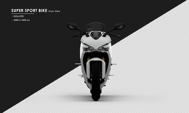 Isolated white super sport bike from front view