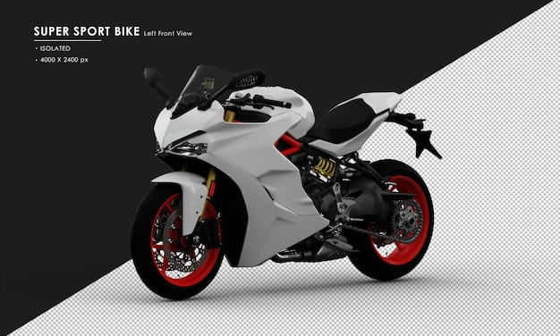 Isolated white super sport bike from left front view