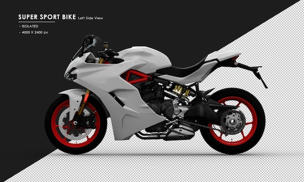Isolated white super sport bike from left side view