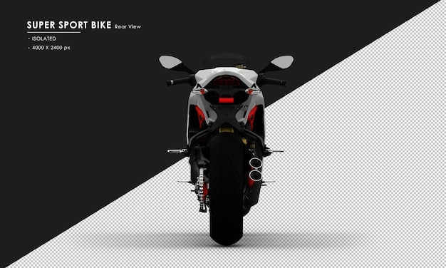 Isolated white super sport bike from rear view