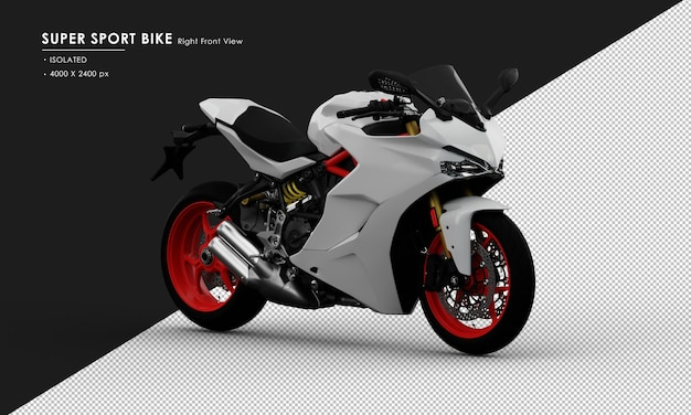 Isolated white super sport bike from right front view