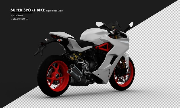 Isolated white super sport bike from right rear view