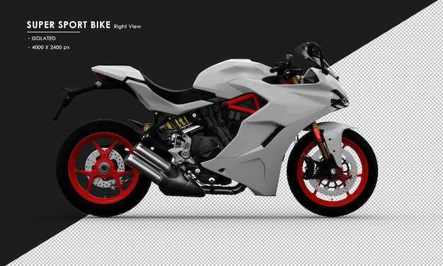 Isolated white super sport bike from right side view