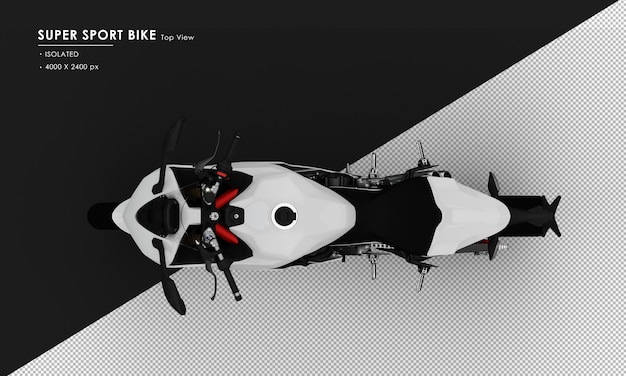 Isolated white super sport bike from top view
