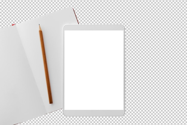 Isolated white tablet and notebook