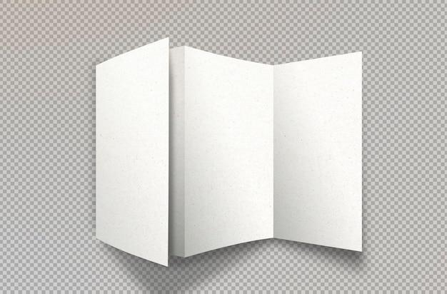 孤立した白い三つ折りパンフレット