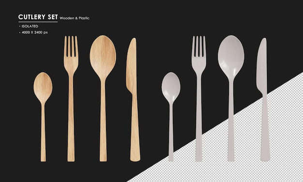 Isolated wooden and plastic cutlery set  spoon tea spoon fork and knife