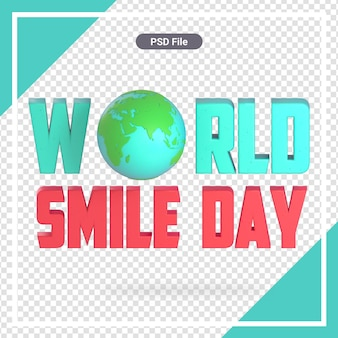 Изолированный всемирный день улыбки 3d рендеринг premium psd