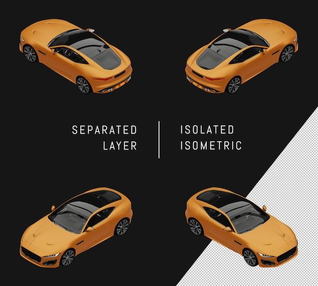 고립 된 노란색 도시 슈퍼 스포츠 자동차 아이소메트릭 자동차 세트