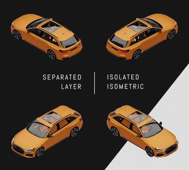 격리 된 노란색 현대 도시 스포츠 자동차 아이소메트릭 자동차 세트