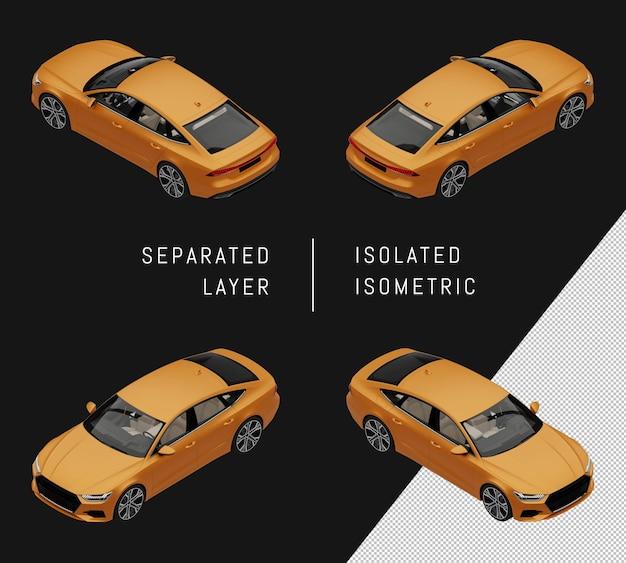 分離された黄色のモダンなスポーツシティカーアイソメトリックカーセット
