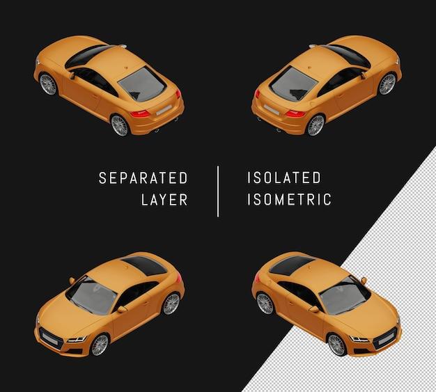 고립 된 노란색 현대 스포츠 도시 자동차 아이소메트릭 자동차 세트