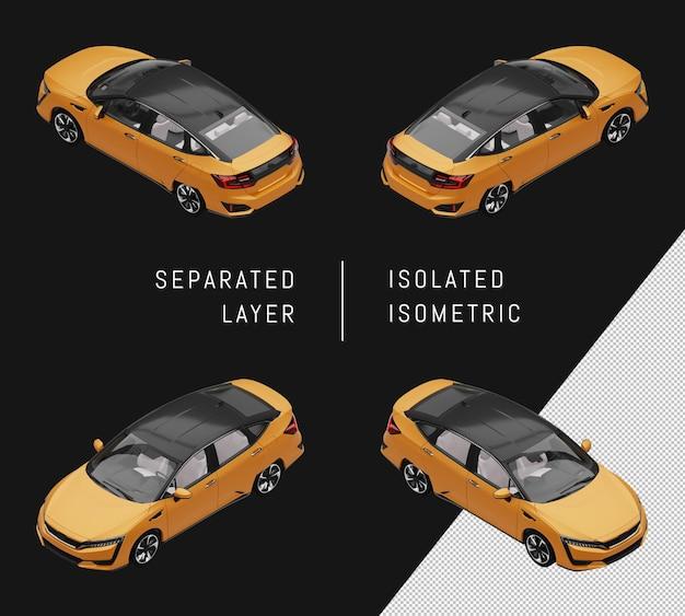 격리 된 노란색 스포츠 우아한 세단 아이소메트릭 자동차 세트 프리미엄 PSD 파일