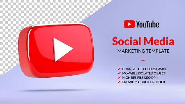 Isolated youtube play button for social media marketing in 3d rendering