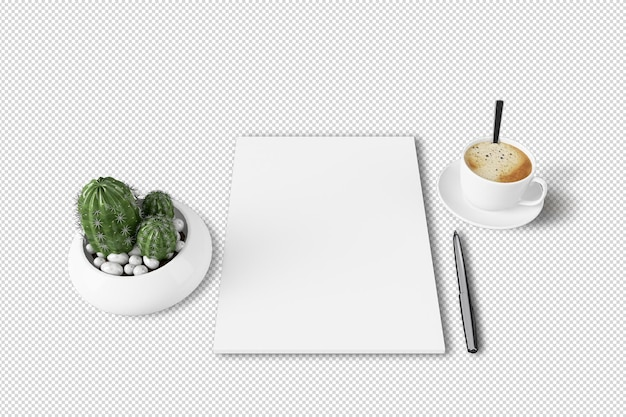 Isometric a4 paper and cactus plant in 3d rendering isolated