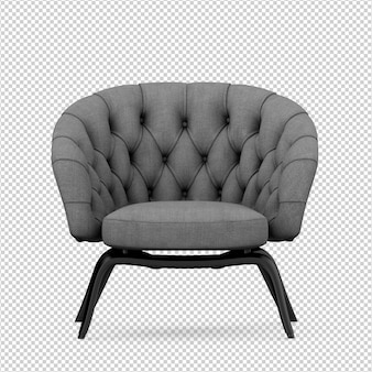 Isometric armchair 3d render isolated