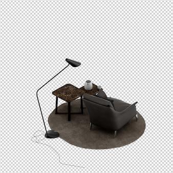 Изометрические кресло 3d визуализации с настольным и торшером изолированы