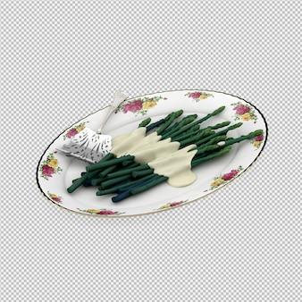 Isometric asparagus 3d render