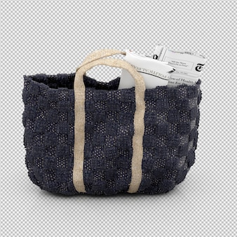 Isometric bag 3d isolated render