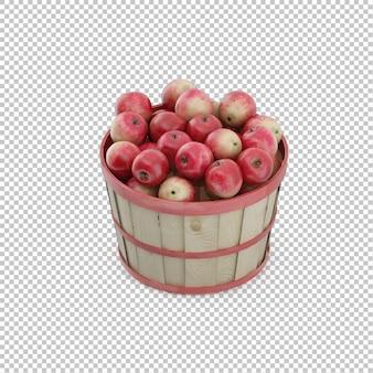 リンゴのアイソメのバスケット