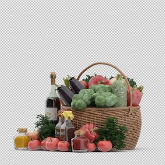 野菜と果物の枝編み細工品バスケットの等尺性バスケット