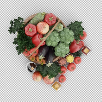 Isometric basket with vegetables and fruits in wicker basket