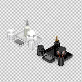 Isometric bathroom accessories 3d isolated render