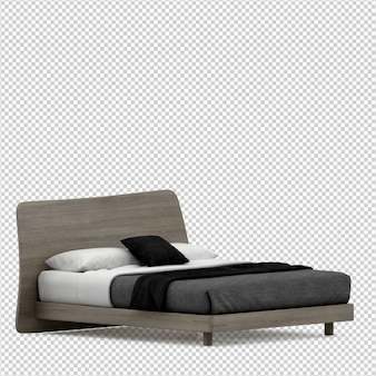 Isometric bed 3d render isolated